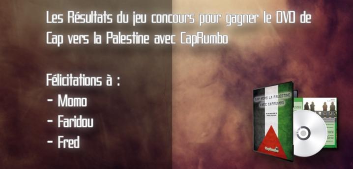 Les résultats du jeu concours pour gagner Cap vers la Palestine avec CapRumbo